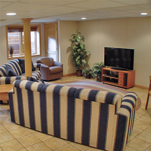 A Finished Basement Living Room Area in Richland Center, WI & IL