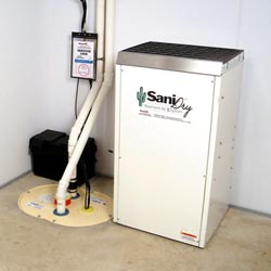 An ENERGY STAR® Rated basement dehumidifier installed in a home in Madison