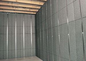 SilverGlo™ insulation and metal studs making up our Basement to Beautiful™ panels.  Installed in Racine.