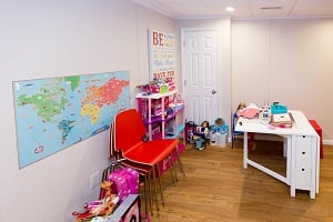Children's playroom installed in a Madison basement