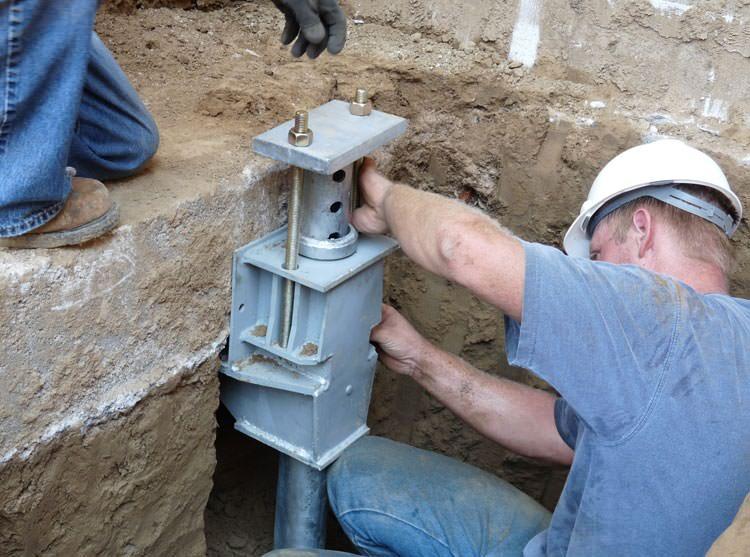 Helical pier installation in milwaukee madison kenosha for Foundation brackets
