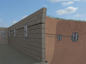 A graphic illustration of a foundation wall system installed in Reedsburg