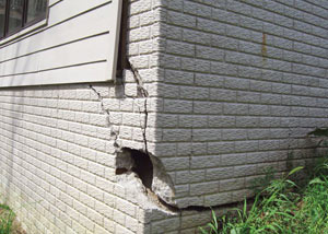 A severely damaged foundation wall in West Allis
