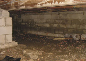 Rotting, decaying crawl space wood damaged over time in Greendale