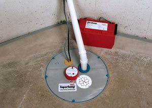 A sump pump system with a battery backup system installed in Fort Atkins