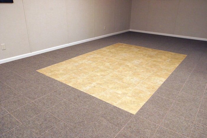... Tiled And Carpeted Basement Flooring Installed In A Kenosha Home;  Interlocking Carpeted Floor Tiles ...